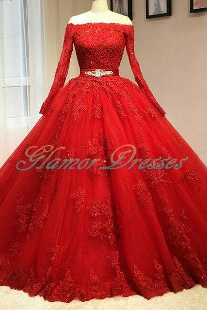 Delicate Red Ball Gown Wedding Dresses, Bridal Dresses, Wedding Dresses 2017, Full Sleeve Wedding Dress, Ball Gown Wedding Dresses, Lace Wedding Dresses, Bridal Gowns,Lace Wedding Dress, Vintage Puffy Tulle Wedding Dresses, Bridal Dresses,Ball Gown Wedding Dresses