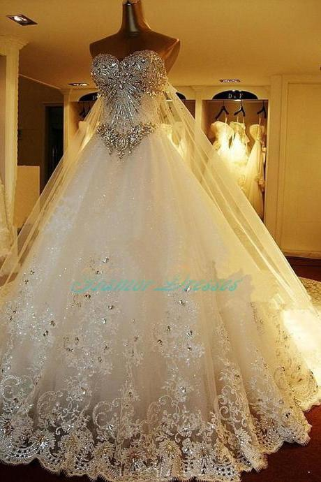 Wedding Dresses 2017, Luxury Wedding Dress, Chapel Train Wedding Gowns,Ball Gown Wedding Dresses, Bridal Gowns,Lace Wedding Dresses, Ball Gown Wedding Dresses