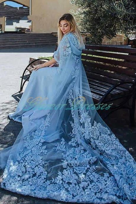 Amazing Dusty Blue Lace Appliques Evening Dresses Long Train Arabic Dubai Two Pieces Beads Jacket And Hat Prom Evening Dress 2017 Long Prom Dresses