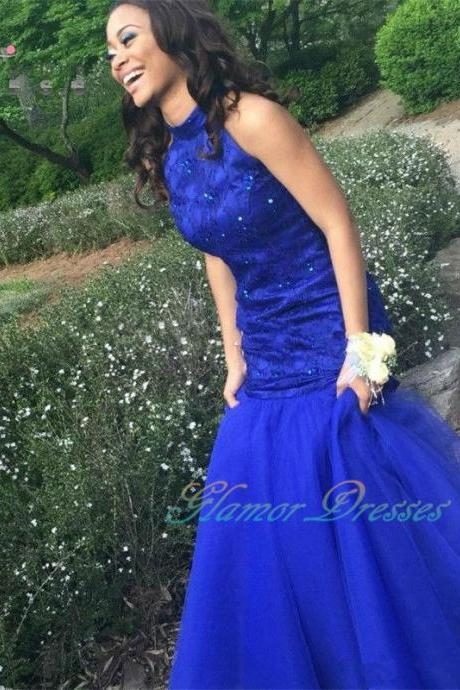 Sexy Royal Blue Mermaid Lace Prom Dresses Long 2017 Beaded Party Gown Backless Party Gown vestido de festa Women Robe De Soiree