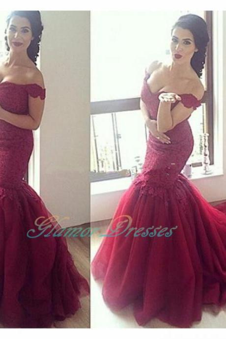 Sexy Mermaid Evening Dresses Appliques Strapless Neck Back Sleeveless Chapel Tulle Lace-up Back Party Dresses Burgundy Mermaid Prom Dresses