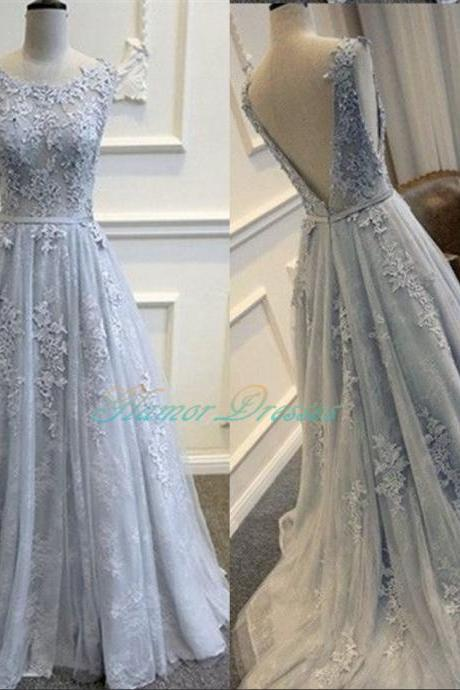 Grey Long Prom Dresses Floor Length Tulle With Lace Bridesmaid Dresses Formal Party Dresses Elegant A Line Vestido De Festa ballkleider