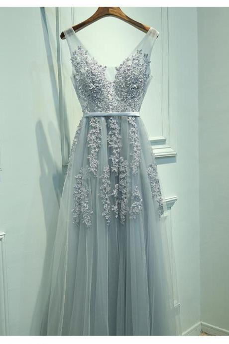 Woman Evening Dress, Charming Prom Dress, A-Line V-Neck Sleeveless Gray Long Prom Dress with Lace, Lace Formal Dress, Woman Evening Dress, Charming Prom Dress, Long Tulle Prom Dress