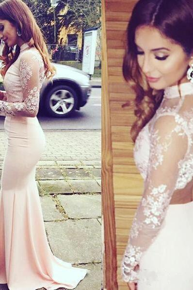 2017 New Mermaid Prom Gown, Charming Prom Dress,High Neck Lace Pink Prom Dress,Long Prom Dresses, Mermaid Prom Gown, Charming Prom Dress, Long Sleeves Prom Dresses