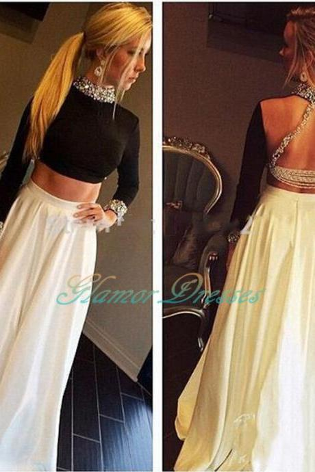 2017 Hot Two Pieces Beaded Open Back High Neck Long Prom Dresses Sexy Special Prom Gown 2 Pieces Party Dress Vestidos Longo