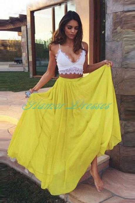 Yellow Party Gowns Designs Sexy 2 Pieces Prom Dress Spaghetti Long A Line Prom Dresses Lace Top Vestido De Festa Chiffon Summer