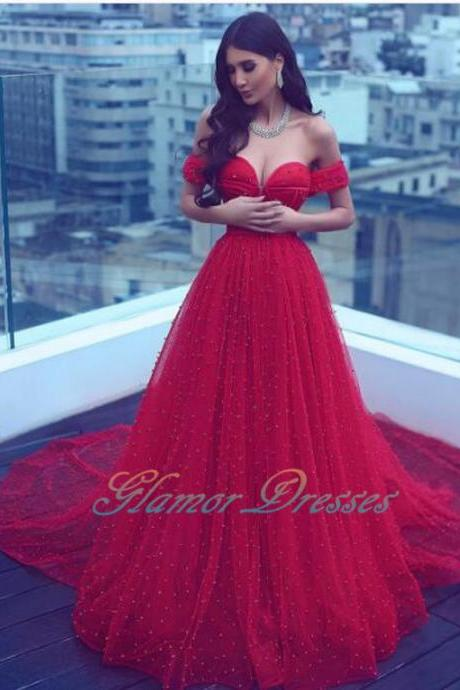 2017 Elegant Hot Red Pearls Beads Prom Dresses Evening Dresses Tulle A Line Sexy Evening Gowns Sweetheart Robe De Soiree Cap Sleeves Arabic Party Dress