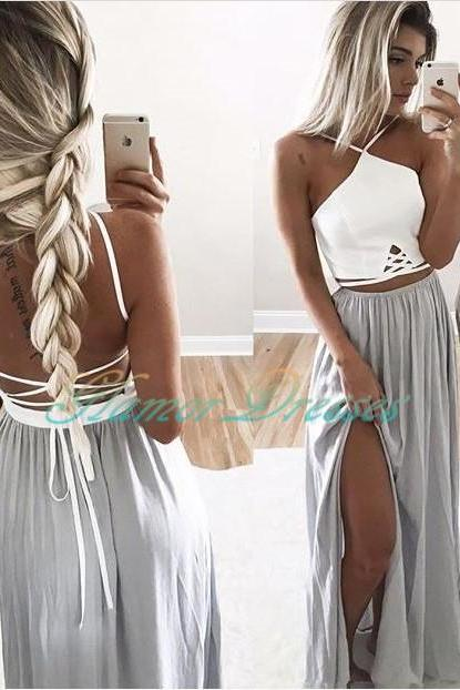 White/ Silver Halter Long Party Dress, Backless Formal Gown, Maxi Dress With Spaghetti Straps