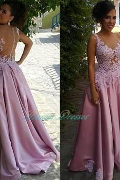 2017 Lace Appliques Prom Dress, Lace Prom Dress,Back Sheer Prom Dress,Woman Formal Dress,Long Evening Dress,Long prom Dress Pink Prom Dress