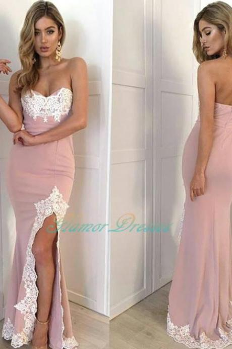 Pink Fitted Prom Dress 2017, Sweetheart Slit Formal Gown Embellished With Lace Appliques