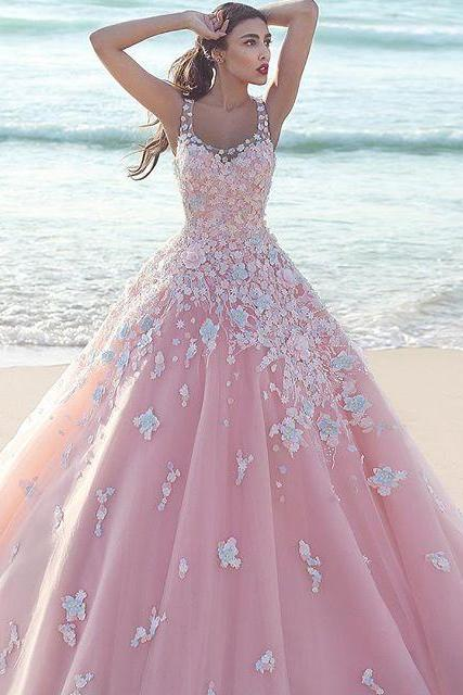 Pink Flower Ball Gown Formal Evening Dresses Arabic Square Neck robe de bal abendkleider Formal Evening Prom Party Gown Dresses Long Prom Dresses