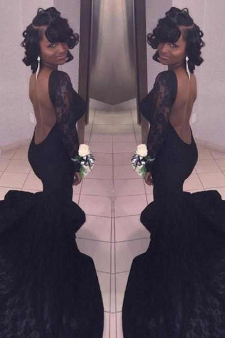 Sexy Backless Long Sleeves Mermaid Lace Black Prom Dresses Long 2017 Party Gown African Evening Dress