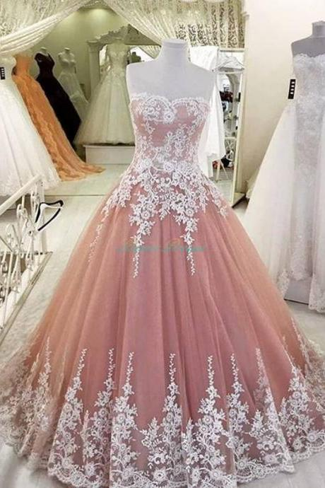 Elegant A-Line Applique Prom Dress, Blush Prom Dress, Lace Tulle Prom Dresses,High Quality Graduation Dresses, Formal Occasion Dresses,Ball Gown Dress