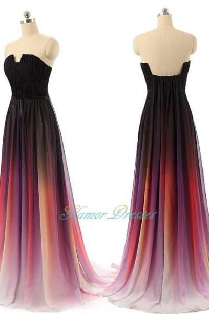 Gradient Prom Dress,Gradient Prom Dresses,Strapless Prom Dresses,2016 Prom Gowns,Pretty Formal Gowns,Modest Evening Dresses