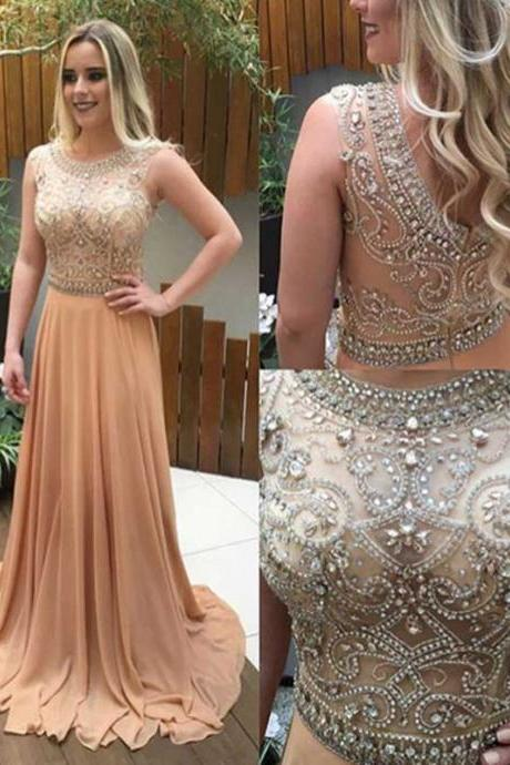 Prom dresses shop, Cheap prom dresses,See through beaded prom dress, Long Champagne prom dresses, Custom prom dresses