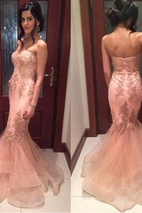 Peach Pink Mermaid Long Pink Evening Dresses 2017 Vestido De Festa Longo Dubai With Lace Appliques Sexy Formal Evening Gowns Prom Dresses