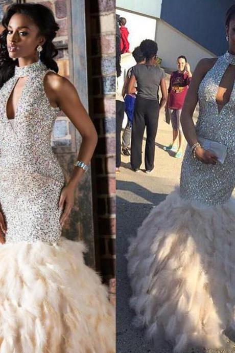 Luxury Prom Gowns Feather Crystal Sexy Mermaid Long Prom Dresses Shiny Rhinestone Evening Dress Abendkleider 2017 Evening Dresses