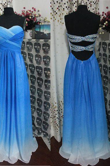 Backless Bridesmaid Gown,Blue Prom Dress,Chiffon Prom Gown,Ombre Bridesmaid Dress,Cheap Evening Dresses,Royal Blue Bridesmaid Dresses,Sweetheart Bridesmaid Gown For Weddings