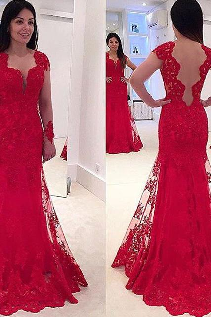 Lace Prom Dress,Red Prom Dresses,Prom Dress,Red Prom Gown,Lace Prom Gowns,Elegant Evening Dress,Modest Evening Gowns,Simple Party Gowns