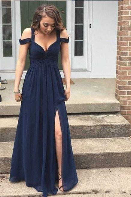 Off the Shoulder Evening Prom Dresses,Chiffon Evening Dress,Slit Prom Gowns,Sweetheart Prom Gown,Formal Gown, Evening Dress,2017 Backless Prom Dress