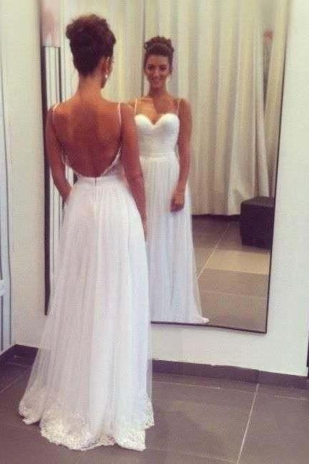Lace Sweetheart Spaghetti Straps Floor Length Chiffon A-Line Wedding Dress Featuring Open Back