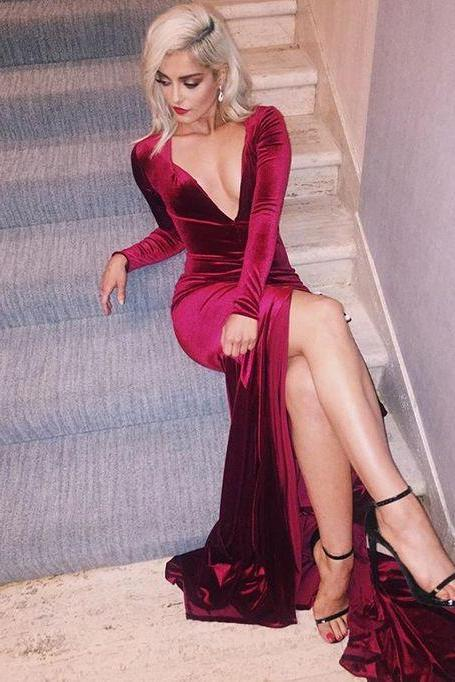 Sexy Slit Mermaid Prom Dresses, Long Sleeves Prom Gown,Wine Red Prom Dress 2016,Burgundy Prom Gowns,Long Evening Dress,Evening Formal Gown, Woman Dresses