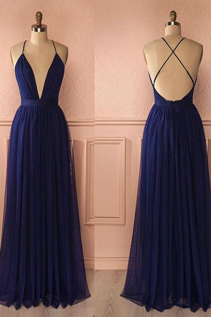 Navy Blue Chiffon V Neck Backless Prom Dress, Prom Dresses,V Neck A Line Prom Dress,Cross Back Formal Dress,Bridesmaid Dresses, Navy Blue Bridesmaid Dresses