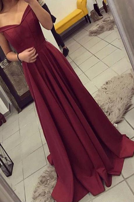 Off The Shoulder Prom Dress,Burgundy Prom Dress,Party Dress,Simple Prom Dress, Formal Party Dress, Prom Dress,Off The Shoulder Evening Dress,Chiffon Prom Dress,Dresses