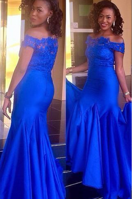 Lace Evening Dress, Mermaid Prom Dress, Royal Blue Evening Dress,Off The Shoulder Prom Dress, Formal Party Dress, Prom Dress, Evening Dress