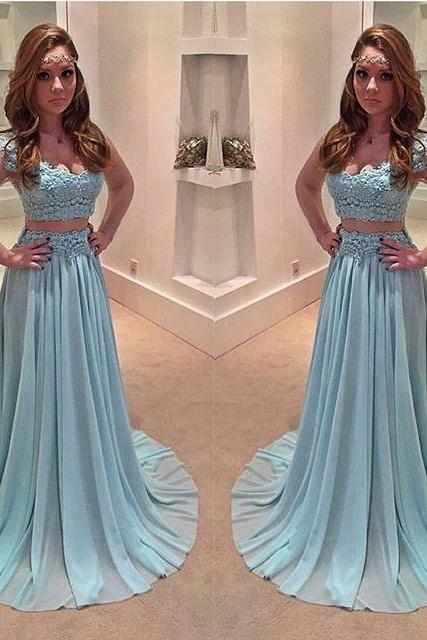 Light Blue Prom Dress,New Prom Gown,2 pieces Prom Dresses,Chiffon Evening Gowns,Prom Dresses,2 piece Evening Gown,lace Prom Gowns,cap sleeves prom dress