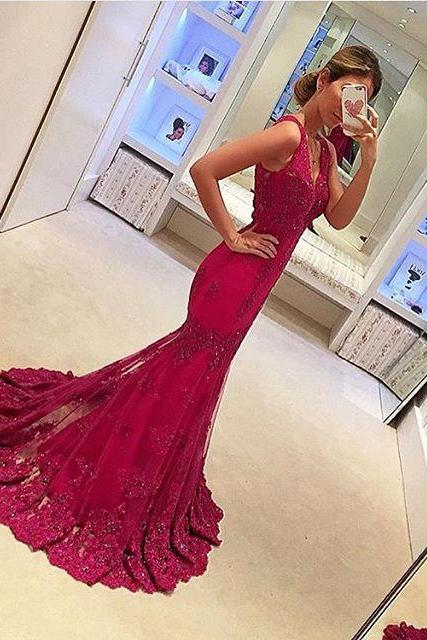 Lace Prom Gowns,Elegant Evening Dress,Modest Evening Gowns,Red Prom Dresses,Prom Dress,Red Prom Gown,Simple Party Gowns,Lace Prom Dress
