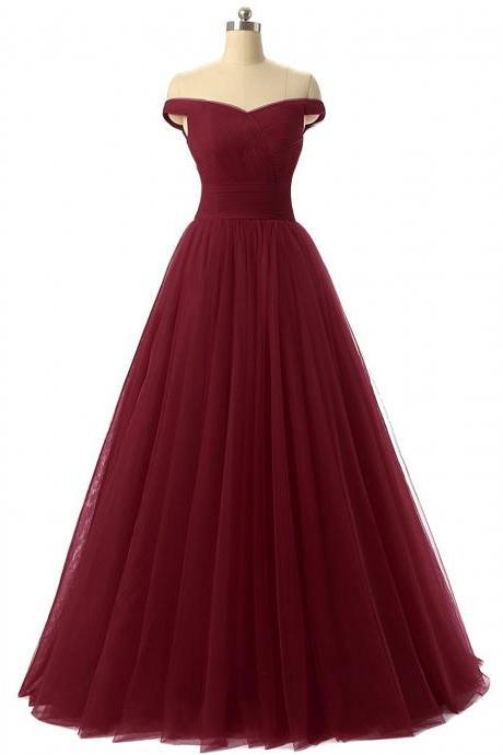 Off the Shoulder Prom Dresses, Prom Dress, Burgundy Prom Dress, Red Prom Dress, Charming Prom Dress,Sweetheart Prom Gown, Formal Gowns