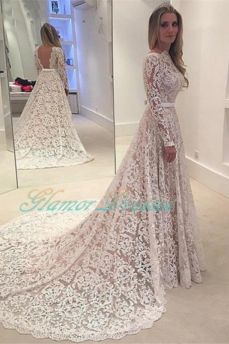2017 Elengant A Line Lace Tulle Long Sleeves Court Train Evening Prom Dress, Evening Dress, Evening Dresses, Prom Dress, Prom Dresses, Formal Party Dress