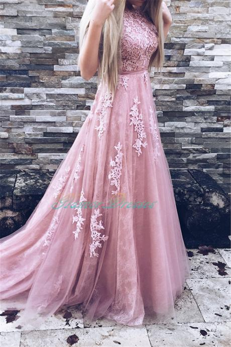 2017 Rose Pink Long Prom Dresses Floor Length Tulle With Lace Appliques Bridesmaid Dresses Formal Party Dresses Elegant A Line Vestido De Festa ballkleider