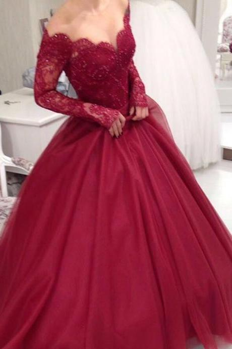Evening Dress 2017,Prom Dress,VNew Arrival Prom Dress,Modest Prom Dress,Long Sleeves Burgundy Ball Gowns Wedding Dresses,Elegant Party Dress