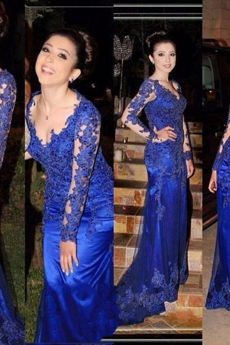 Royal Blue Prom Dresses,2017 Prom Dress,Lace Appliques Prom Dress,Mermaid Prom Dresses,2017 Formal Gown,Mermaid Evening Gowns,Royal Blue Evening Dress,Long Sleeves Evening Dress, Mother of the Bride Dresses