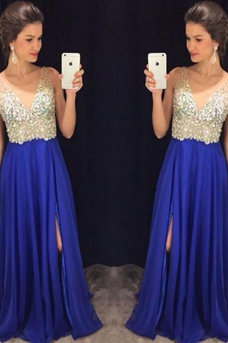 Royal Blue Side Split V-Neck Prom Dresses Long Party Gowns Formal Pageant Evening Celebrity Long Dress