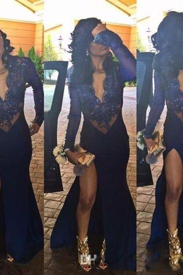 2017 Sexy Navy Blue Prom Dresses Illusion Deep V Satin Mermaid Long Sleeves Lace Applique Beaded Split Evening Dresses Formal Party Gowns