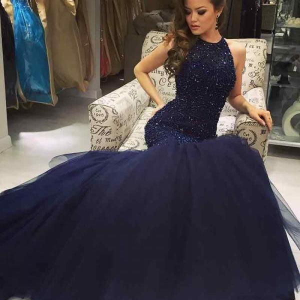 New High Neck Beads Prom Dresses Mermaid Tulle Evening Dresses Long Sexy Evening Party Gowns