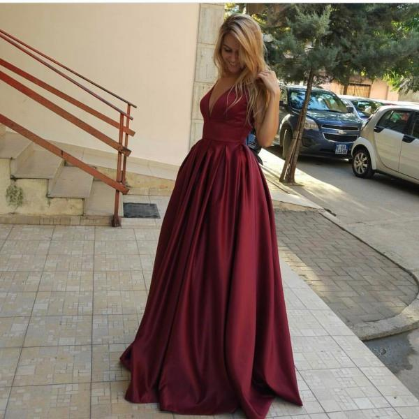 Burgundy Prom Dresses, Evening Dress,A Line Evening Dresses,V Neck Long Burgundy Prom Dress