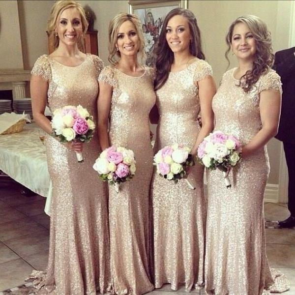 2017 New Fashion Lace Cap Sleeves Sequined Dress to Wedding Party Long Gold Bridesmaid Dress,High Quality Bridesmaid Dress