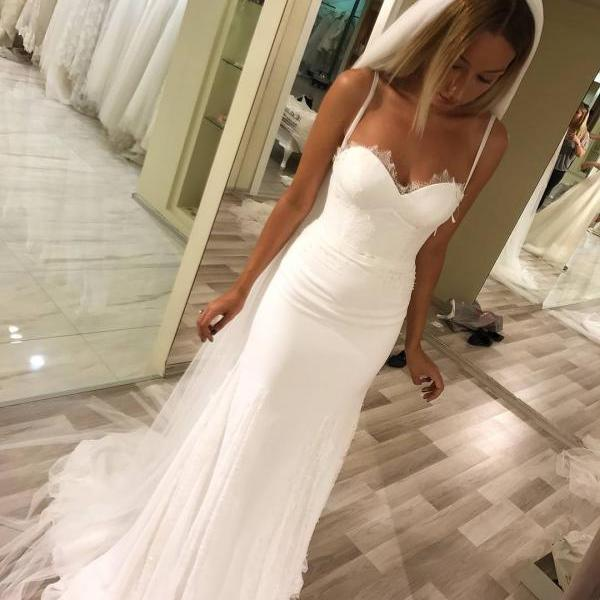 2018 Mermaid Wedding Gowns Spaghetti Straps Elegant Lace Appliques Ivory Bridal Dresses Wedding Dresses