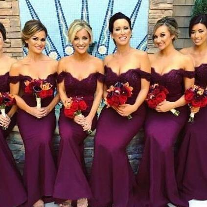 New Grape Bridesmaid Dresses 2018 Mermaid Maid of Honor Dress Off the Shoulder Plus Size Lace Appliques Bridesmaid Dress Wedding Party Dresses Wedding Guest Dress