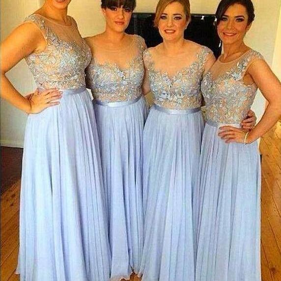 Blue New Bridesmaid Dresses 2018 A Line Sheer Top Lace Appliques Chiffon Plus Size Bridesmaid Dress Maid of Honor Dress Wedding Party Dresses Wedding Guest Dress