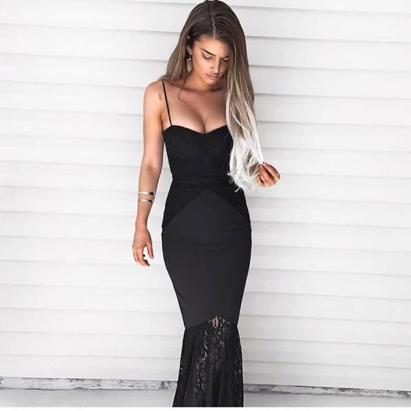 Prom Dresses, Black Prom Dress, Long Lace Prom Dress, Spaghetti Straps Black Prom Dress, Simple Mermaid Prom Dress