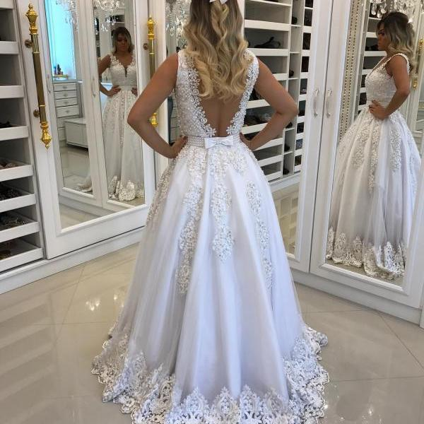Wedding Dress, A Line Wedding Dress, White Bridal Dresses, V Neck Wedding Dress, Lace Wedding Dress