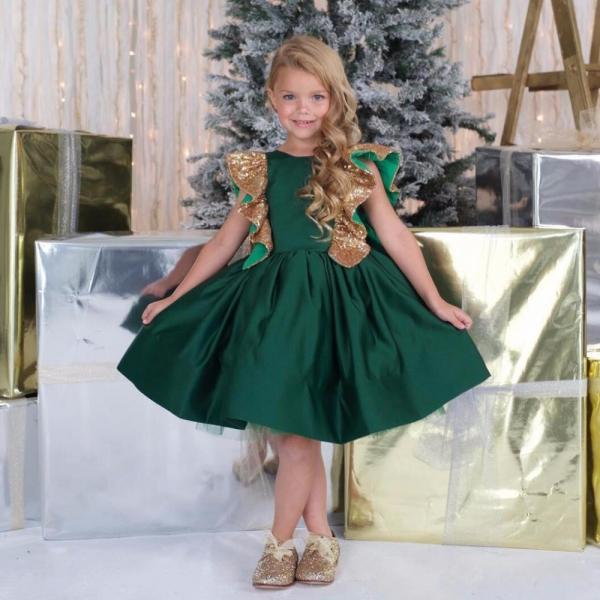 Adorable Emerald Green A-line Girl Knee Length Flower Girl Dress Girls Birthday Christmas Dresses Gold Sequined Kids Formal Party Dress