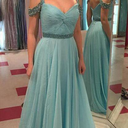Teal Prom Dresses A-line Spaghetti Straps Floor-length Tulle Prom Dress Evening Dress