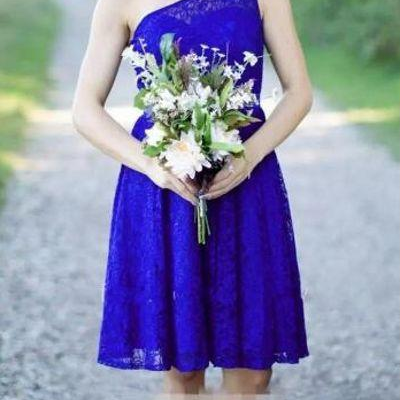 Royal Blue Lace Short Bridesmaid Dresses One -Shoulder Sexy Country Bridesmaids Dress Wedding guest Party Gowns