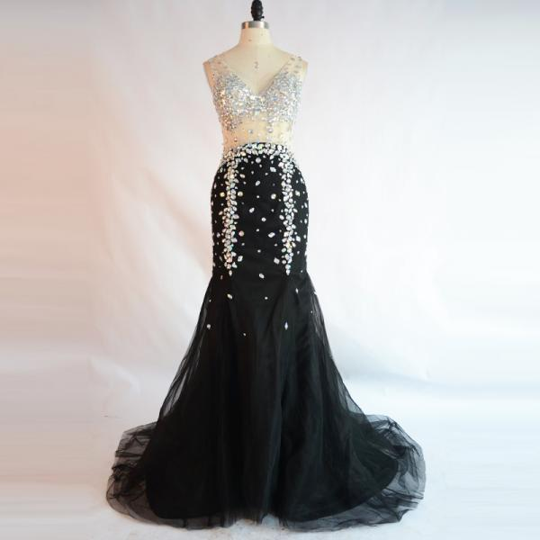 Black Long Mermaid Evening Dress Prom Dresses 2018 Robe De Soiree Rhinestones Special Occasion Prom Dresses Women Formal Party Gowns